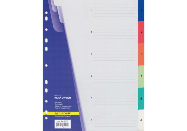 Розділювач пластиковий А4, 1-6, ВМ-3210